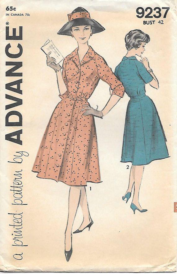 1950s Shirtwaist Dress Advance 9237 Sewing Pattern, offered on Etsy ...
