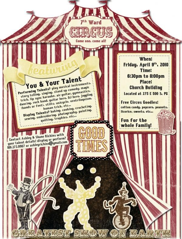 Circus/Flyer Talent Show Poster School Talent show, Kids talent