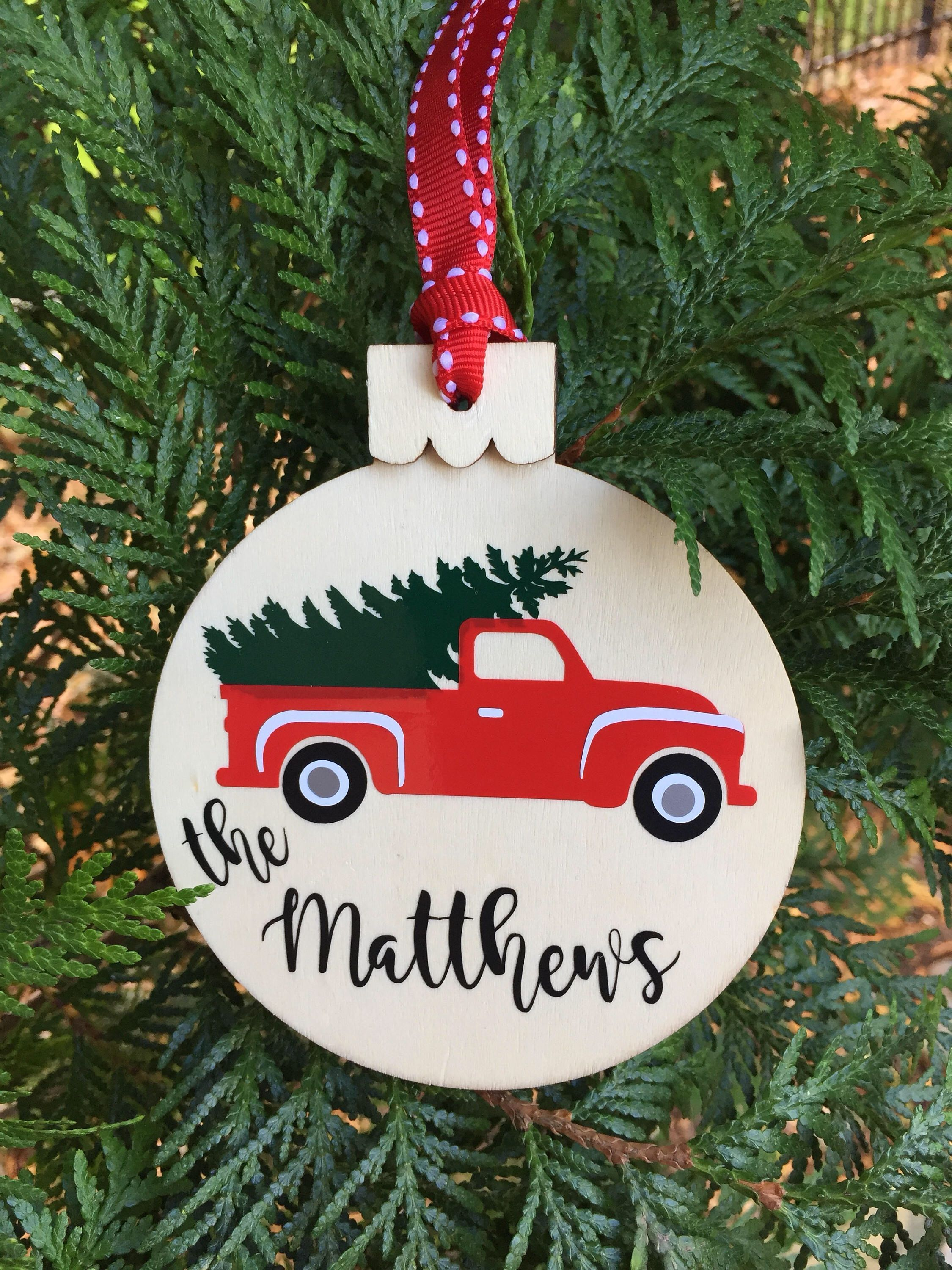 "CHRISTMAS WOOD ORNAMENT NAME PERSONALIZED /""HANDMADE/"""