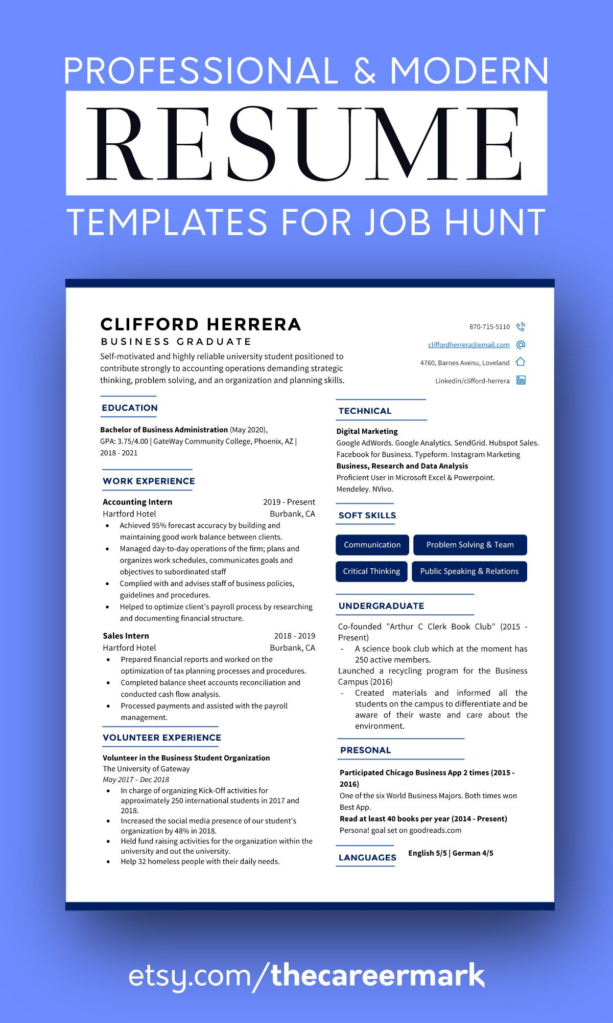 Modern Resume Template Word Pages Cv Template Professional Resume Template Business Resume Creative Resume Executive Resume Modern Resume Template Resume Template Professional Resume Template Word