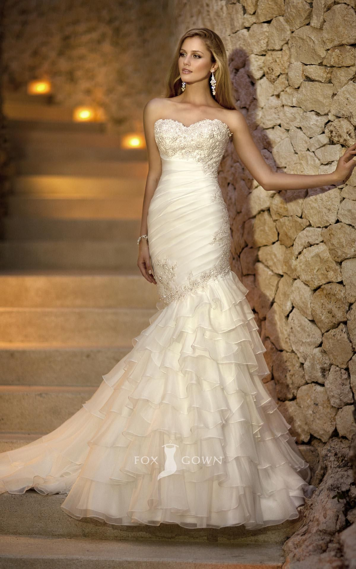 Superb sweetheart fit and flare asymmetrical ruched bodice ruffle skirt bridal gown