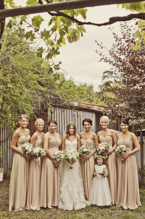 I Like Bridesmaid Darker Than Bride Chiffon Next To Lace And Flower Girl Similar Color Champagne Dresses For Fall Wedding