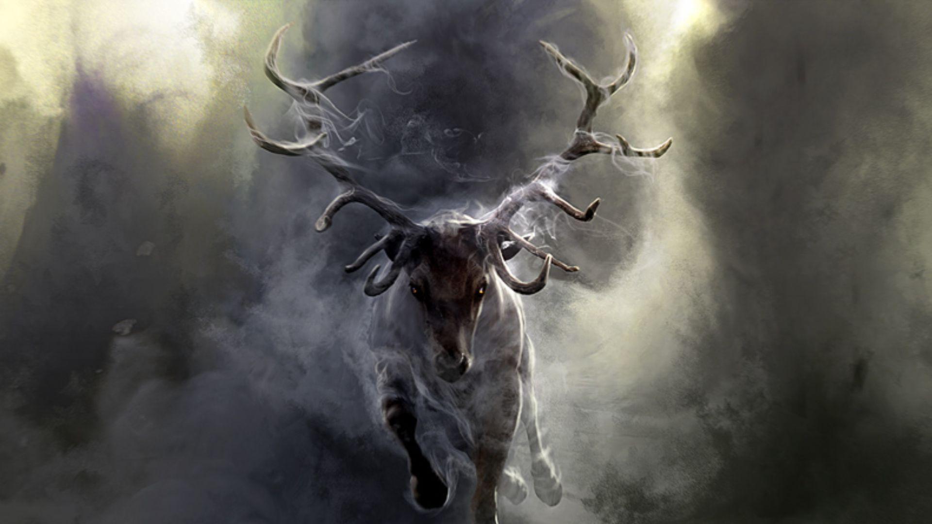 Download Wallpaper 1920x1080 Deer, Smoke, Run, Horns Full
