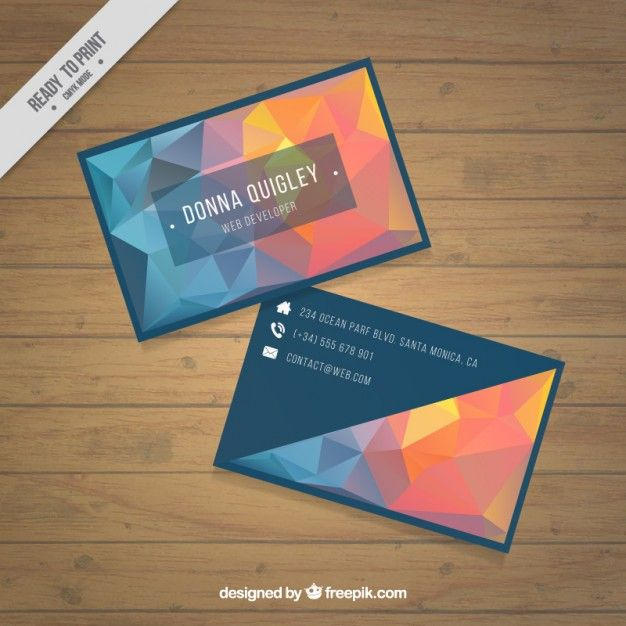 Polygonal business card in blue and orange tones free vector polygonal business card in blue and orange tones free vector colourmoves