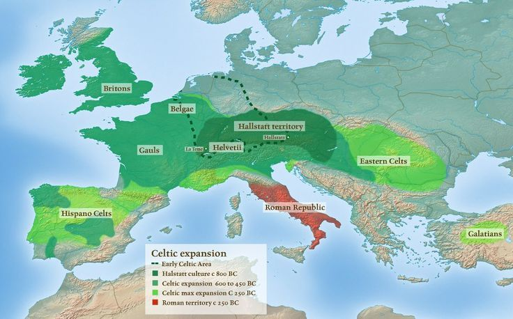 The lands occupied by Celtic peoples, whose existence can be traced ...