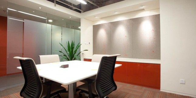 small conference room, lighting on creative boards, color ...