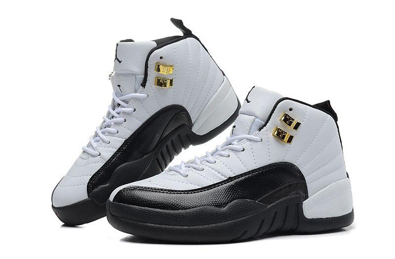 Aj12 White Black With Gold Eyelet Girls Air Jordans Retro