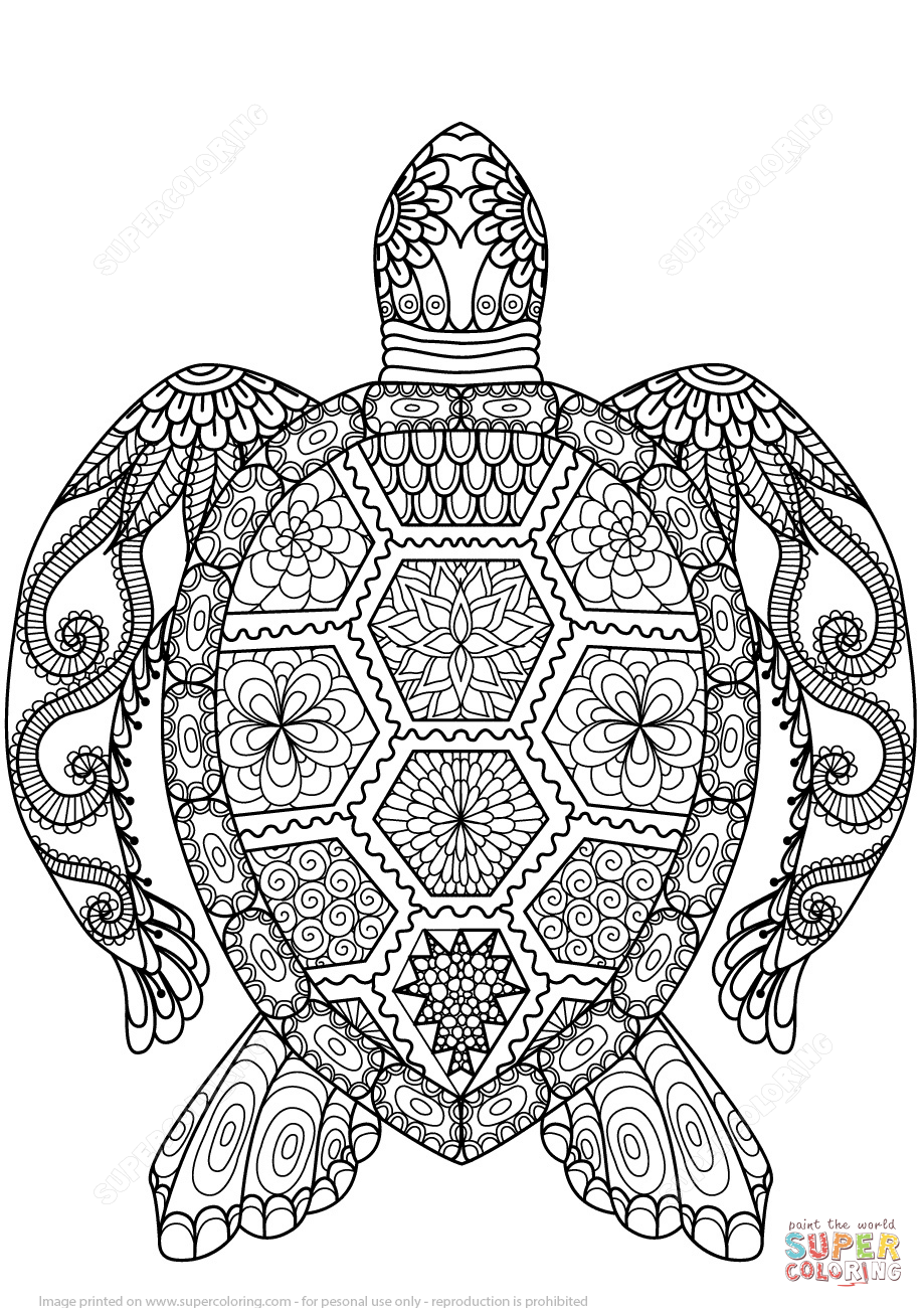 Disney zentangle coloring pages - Tortuga Zentangle Super Coloring