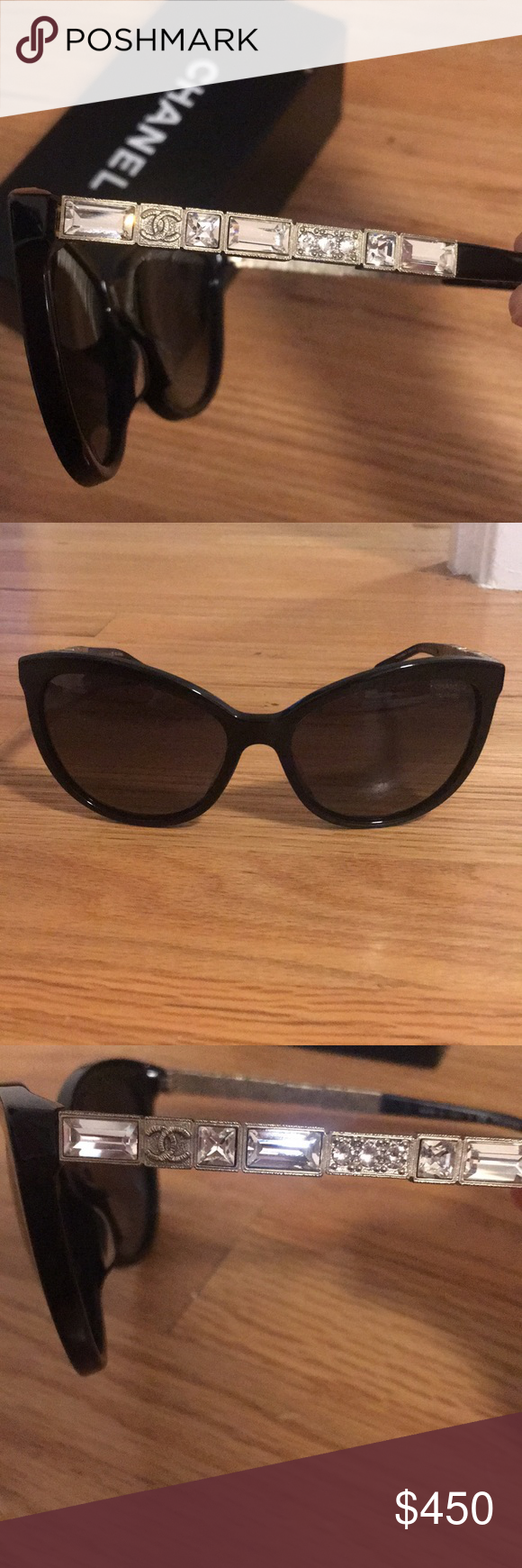 0fcfd0ba7d54b Authentic Chanel sunglasses with crystal sides Authentic polarized black  frames with crystal siding