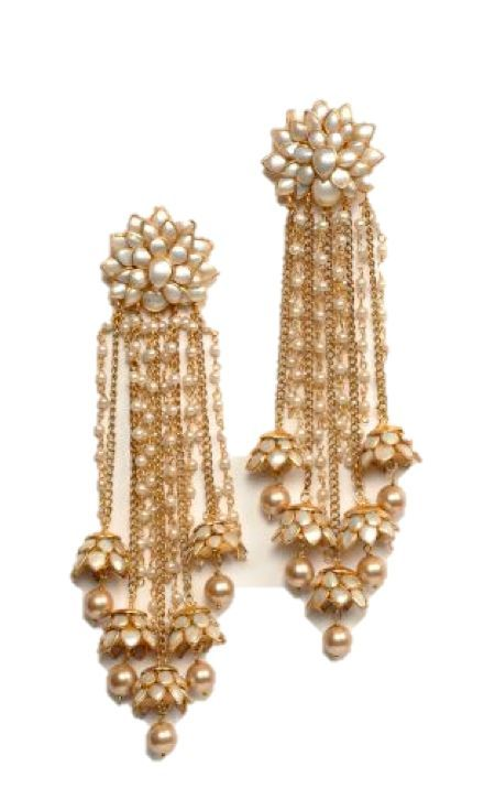 Pearl earrings with flowers hangings Jewellery Pinterest Pearl