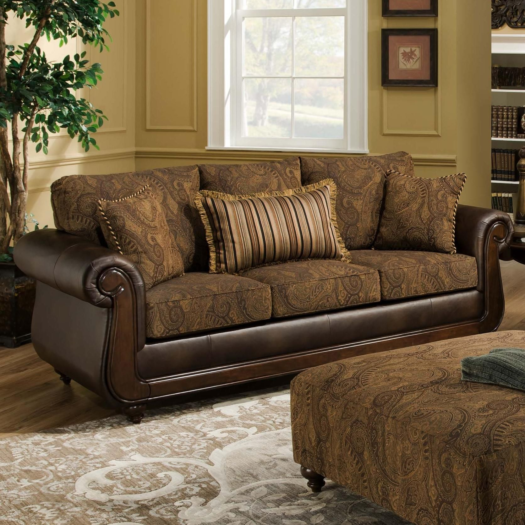 5850 sofa with exposed wood by american furniture furniture