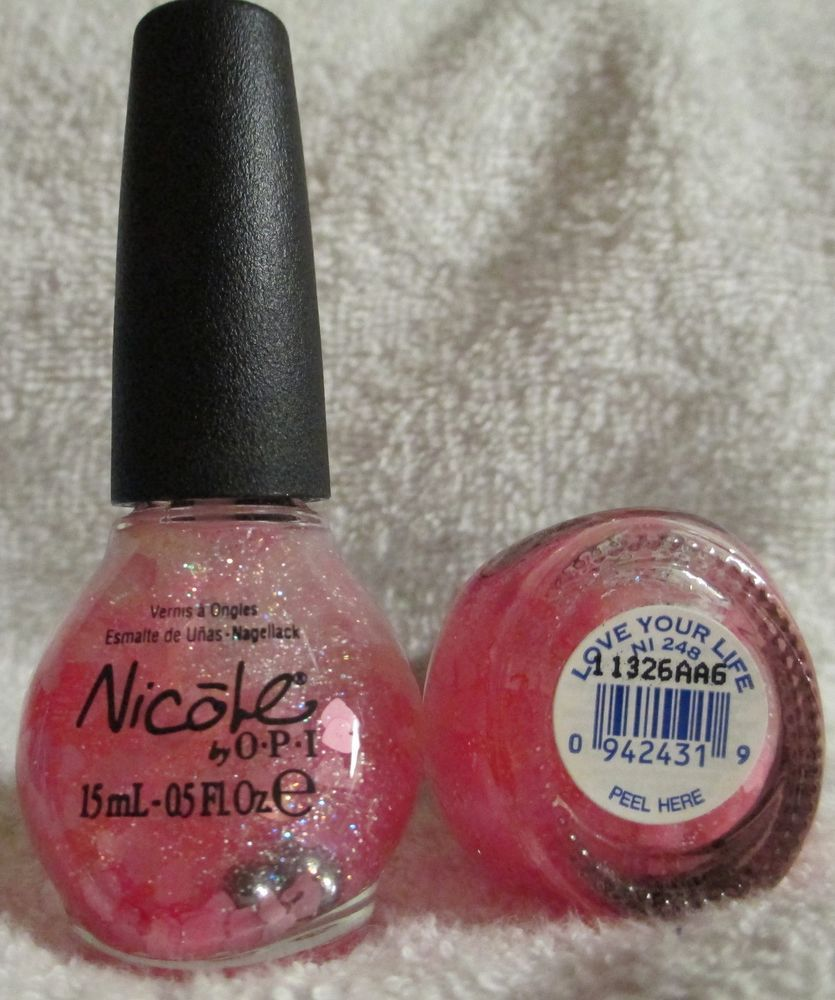 Nicole By OPI Nail Polish Love Your Life #NI-248 Pink Heart Glitter ...