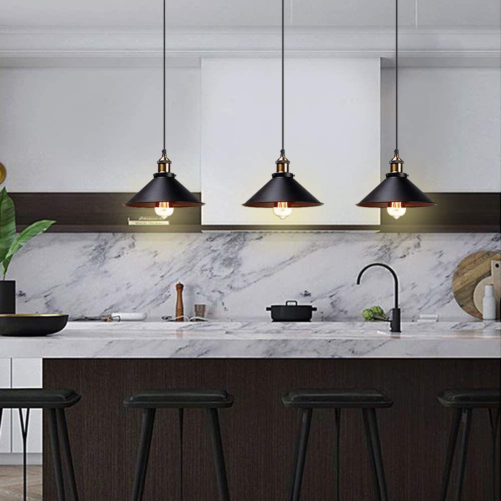 T A Industrial Edison Kitchen Pendant Light 3 Pack Antique Brass Hanging Lighting Fixture For Dining Room Hanging Light Fixtures Kitchen Pendants Pendant Light