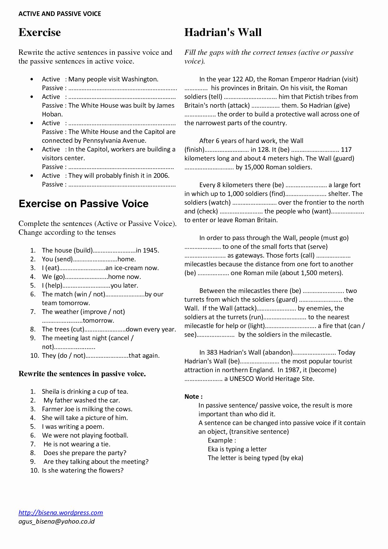 Active Passive Voice Worksheet New Passive Voice