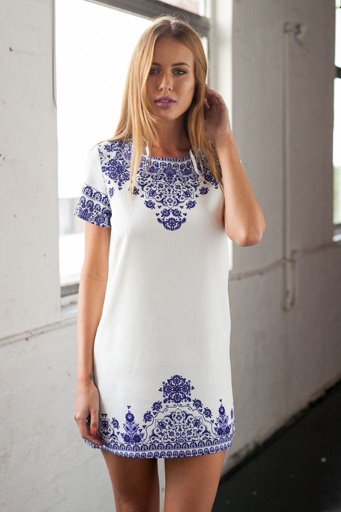 White shift dress with blue embroidery and short sleeves | Dresses ...