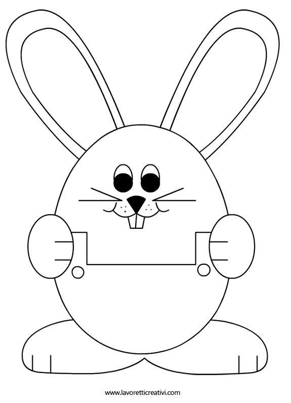 Sagome coniglio sagome utili per realizzare un coniglio di for Coniglio disegno per bambini