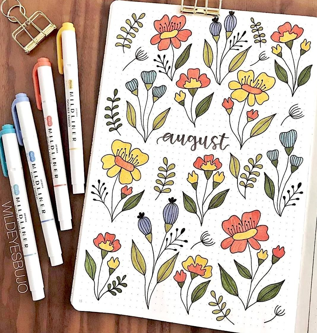 Floral Bujo for August  #augustbulletjournal