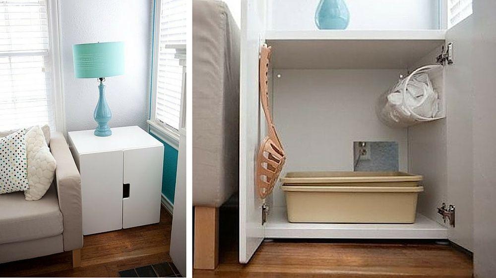 5 solutions pour cacher la liti re de son chat m6 d co pinterest meuble salon salon et. Black Bedroom Furniture Sets. Home Design Ideas