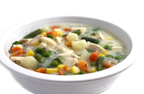 Skinnylightful Chicken Pot Pie Soup. This soup is much lighter than a traditional pot pie but has all the yumminess! Each main course bowl has 260 calories, 3 grams fat & 6 Weight Watchers POINTS PLUS. http://www.skinnykitchen.com/recipes/skinnylightful-chicken-pot-pie-soup/