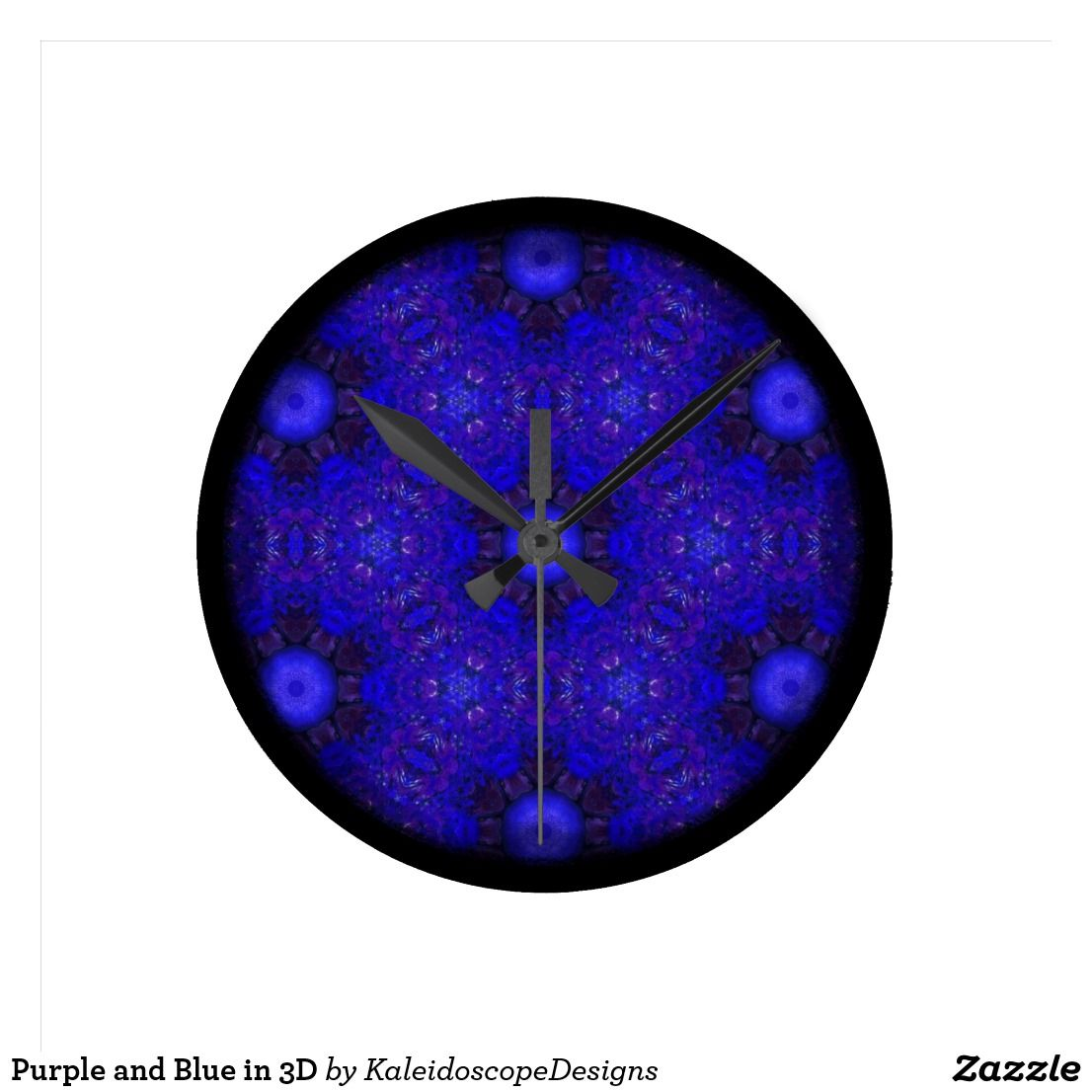 Purple and Blue in 3D Round Wall Clock