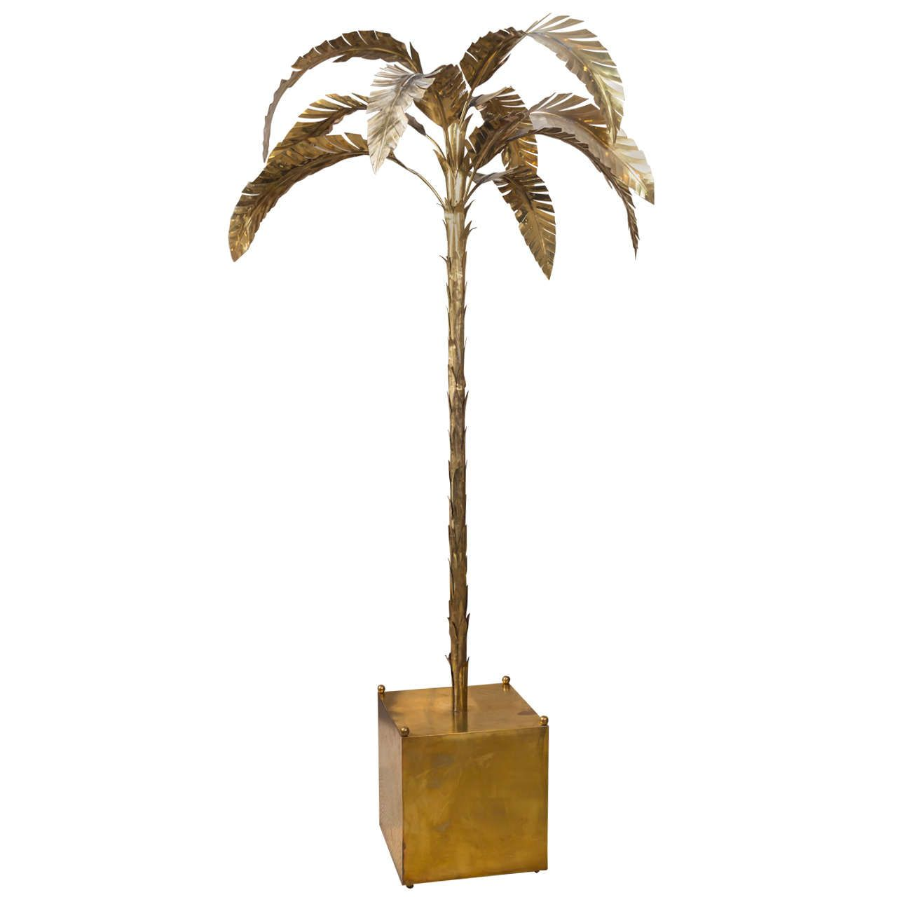 Patinated brass palm tree floor lamp aloadofball
