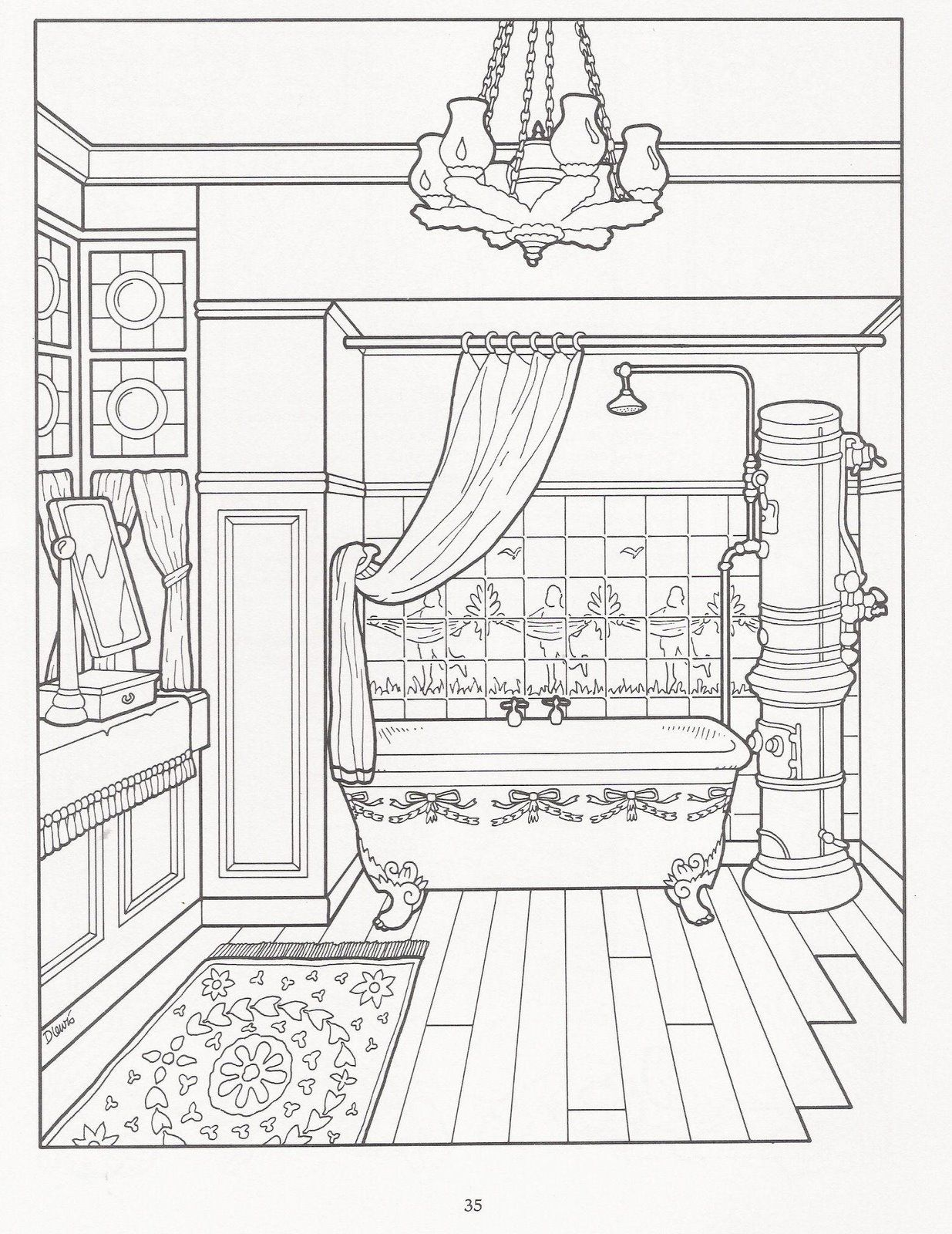 Victorian Bathroom House Colouring Pages Coloring Pages Coloring Sheets