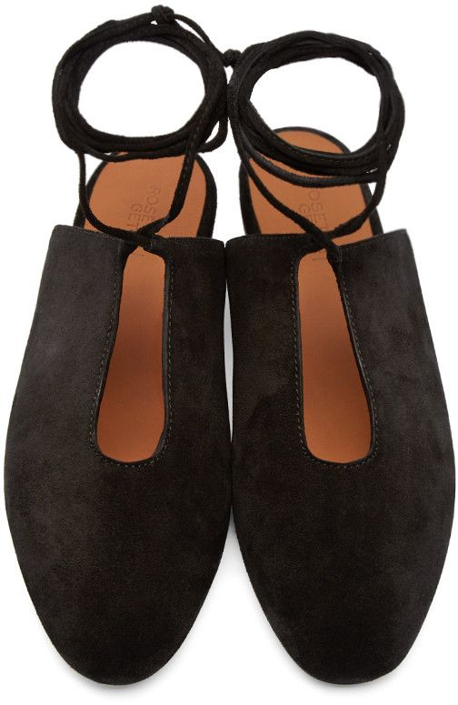 Rosetta Getty - Black Suede Lace-Up Flats $490