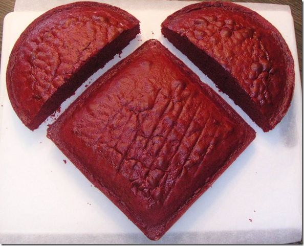 make a valentine heart cake with 1 circle cake cut in half and a regular square cake!