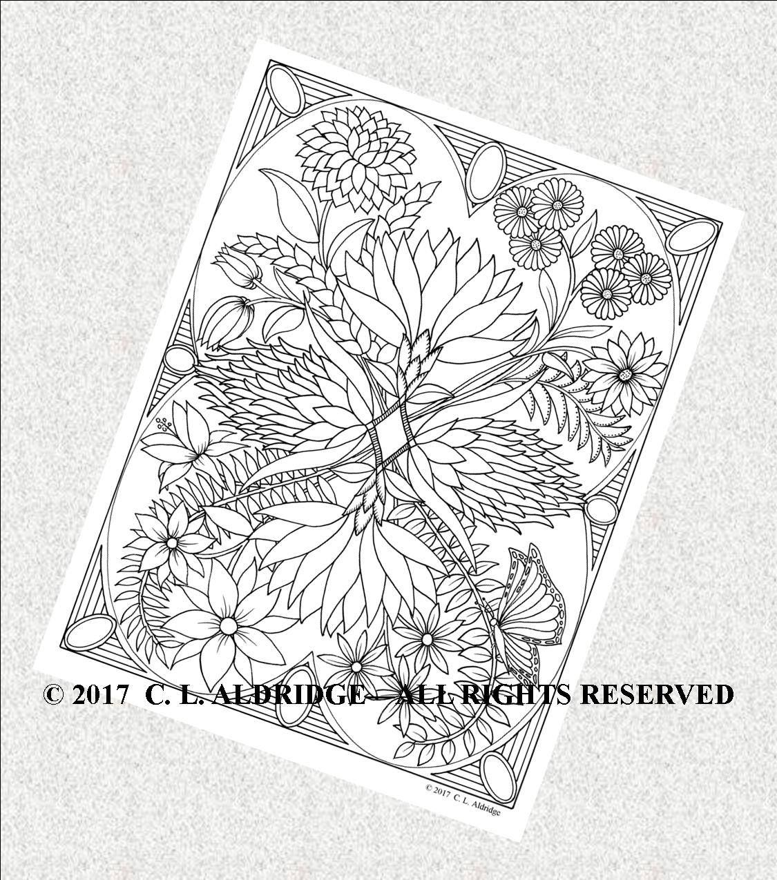 Fantasy flower garden coloring page by claldridgeart on etsy