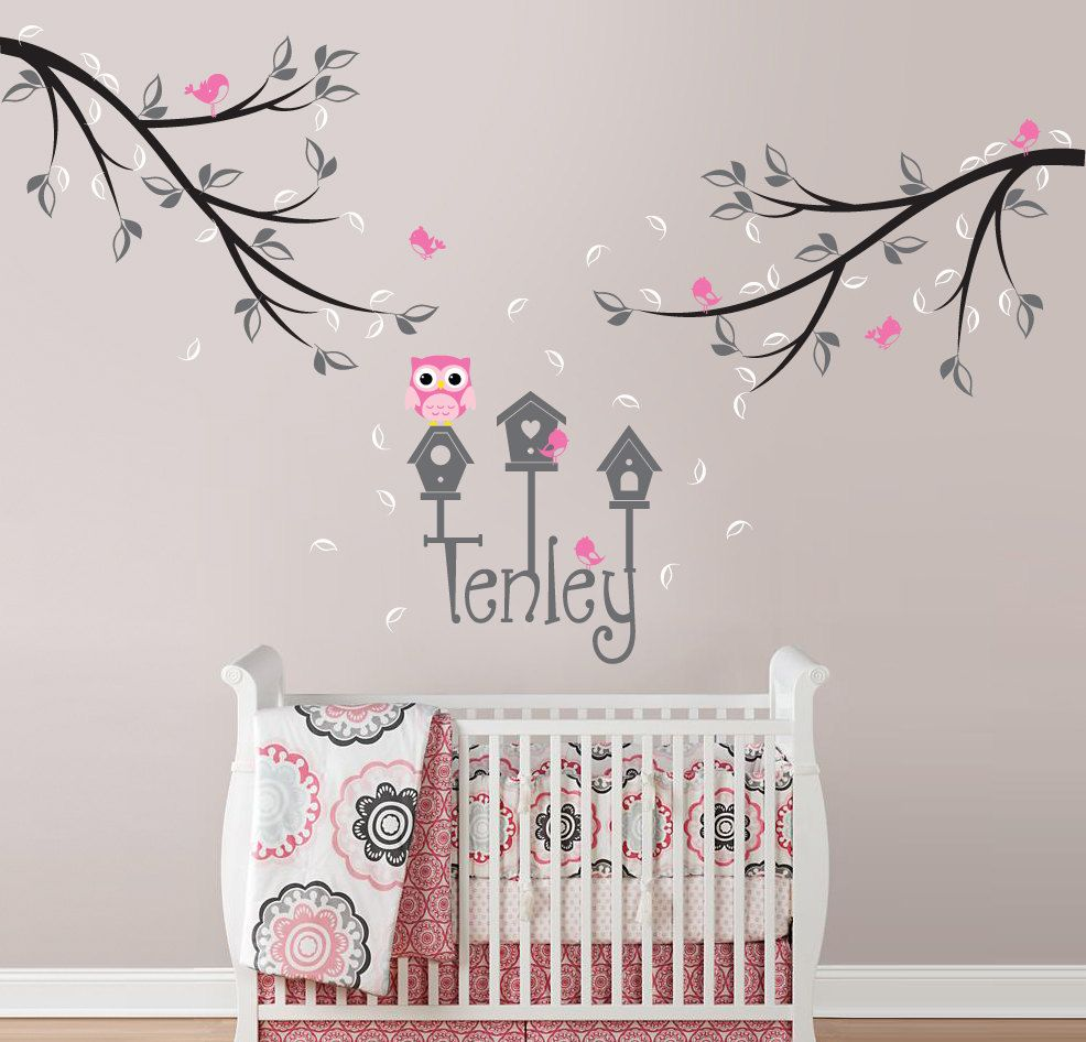 Owl, Bird and Branch Wall Decal with Custom Name and ...