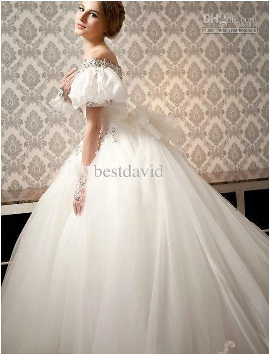 Cheap off the shoulder ball gown wedding dress puff for Puff sleeve wedding dress