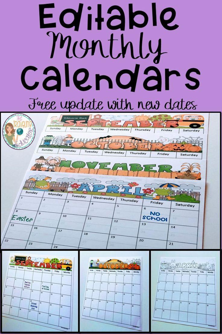 Monthly Calendar Editable Template 2018 2020 Tpt Pinning Board