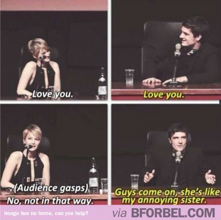 Jennifer Lawrence And Josh Hutcherson Said Love You And Killed Everyone In The Audience Hunger Games Memes Hunger Games Humor Hunger Games Series