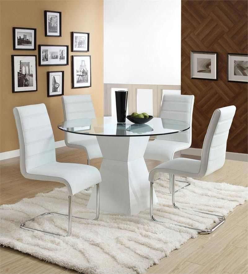 White Color 4 Chair Minimalist Round Glass White Dining Table Set