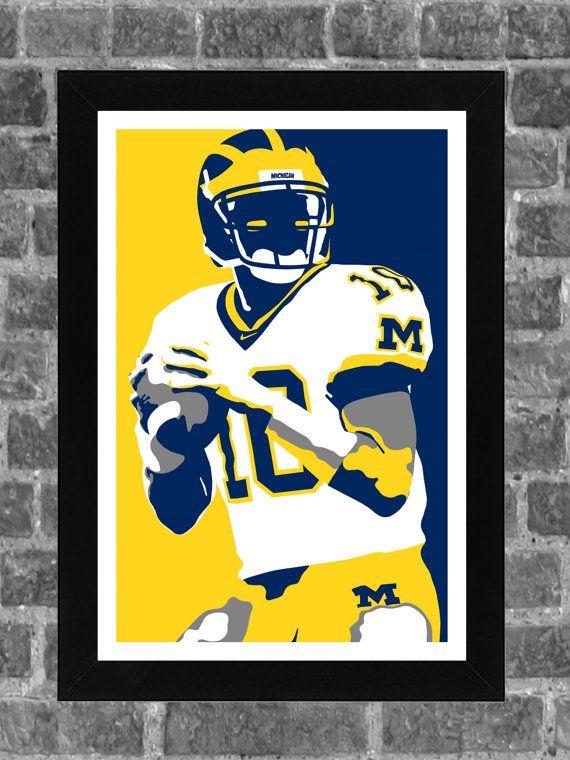 Michigan Wolverines Tom Brady Portrait Sports Print Art