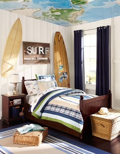 Lovely Dark Chestnut Twin Size Panel Bed With Nightstand And, Matching Surf Theme  Bedding, Curtains, Area Rug. Rattan Toy Chest