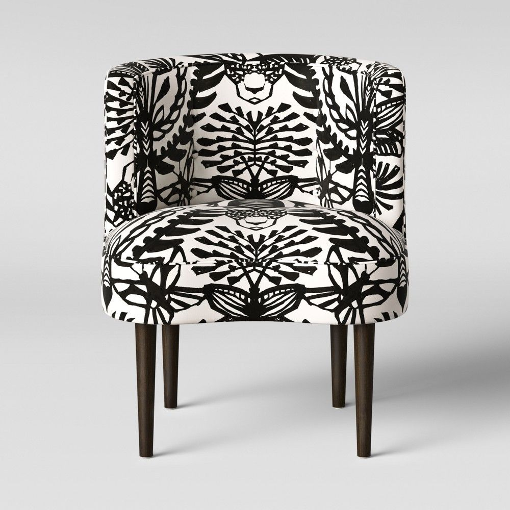 Best Clary Curved Back Accent Chair Black White Animal Print 640 x 480