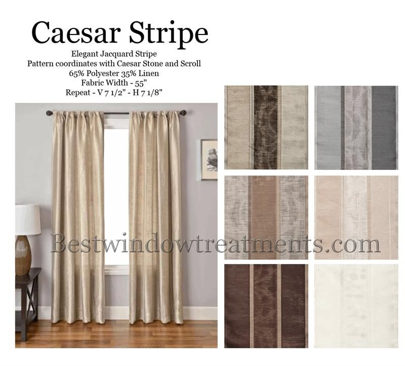 Caesar Stripe Curtain Panel Available In 6 Colors