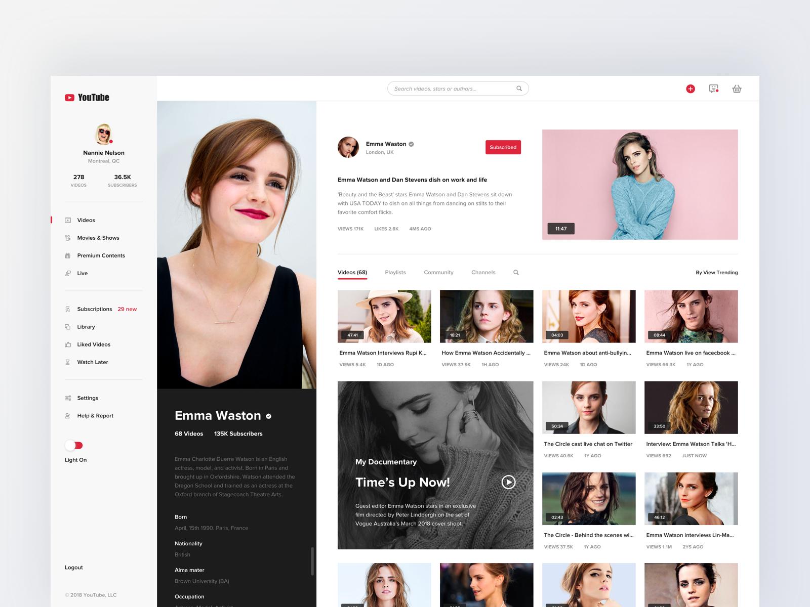Youtube Concept Design Profile Youtube Design Concept Design Web Design