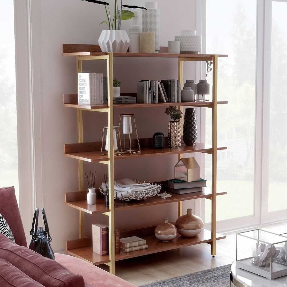 Furniture Of America Bizi Contemporary Walnut Metal Display Shelf In 2020 Shelves Display Shelves Furniture