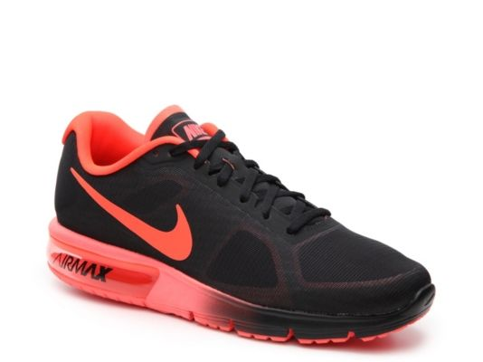 Men's Men Air Max Sequent Performance Running Shoe -Black/Red - Black/Red
