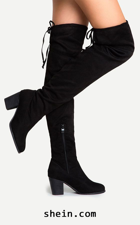 1393959ca0c Black Suede Lace Up Over The Knee Boots