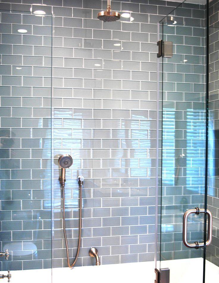 Ocean Gl Subway Tile Modern Shower Tiles And Blue Grey