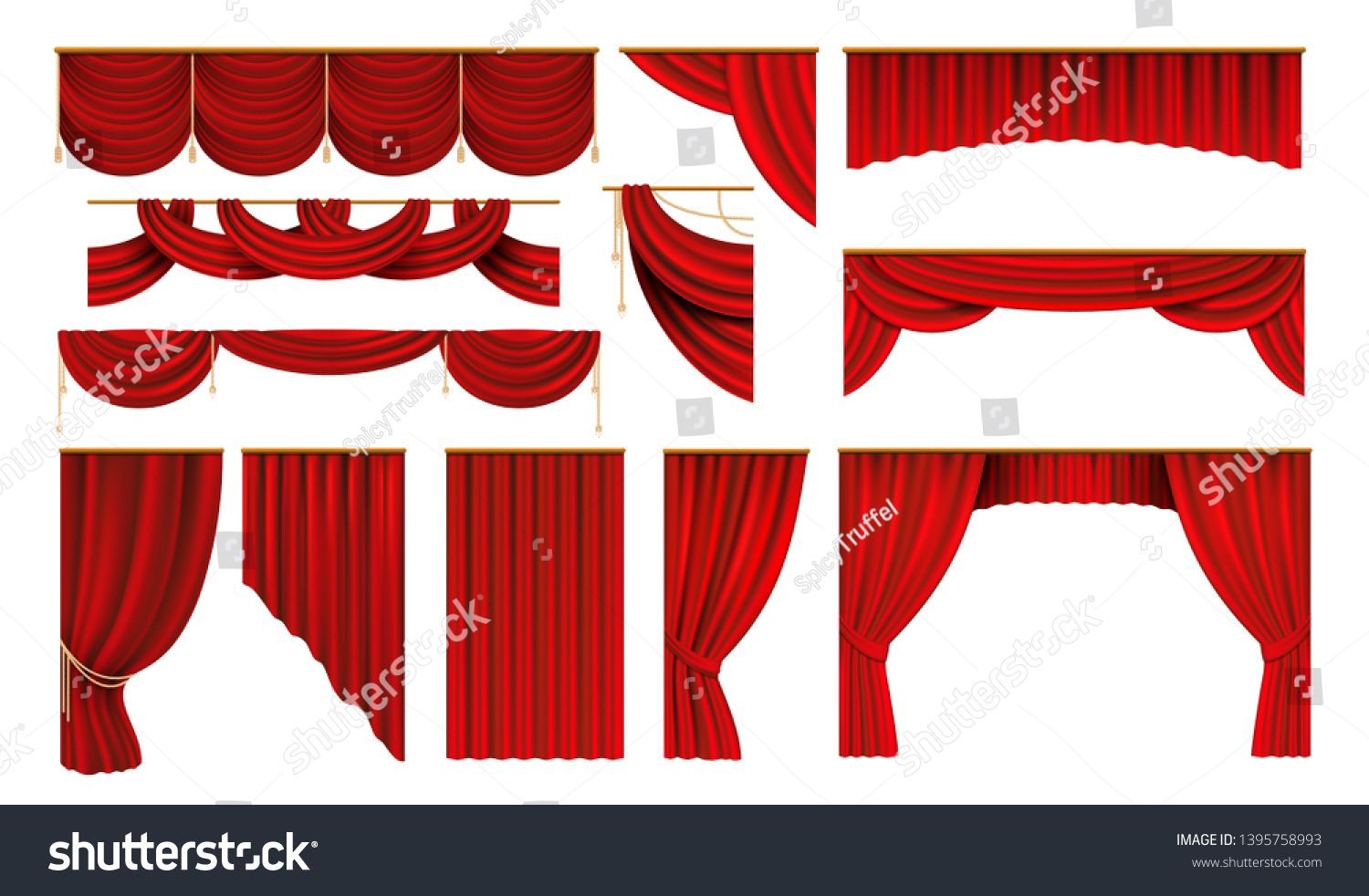 Realistic Red Curtains Cinema And Theater Stage Borders 3d Elegant Backdrop Folding Drapery Vector Movie And Opera Red Curtains Art Deco Logo Theatre Stage