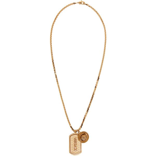Versace Gold Dog Tag Necklace 825 liked on Polyvore featuring
