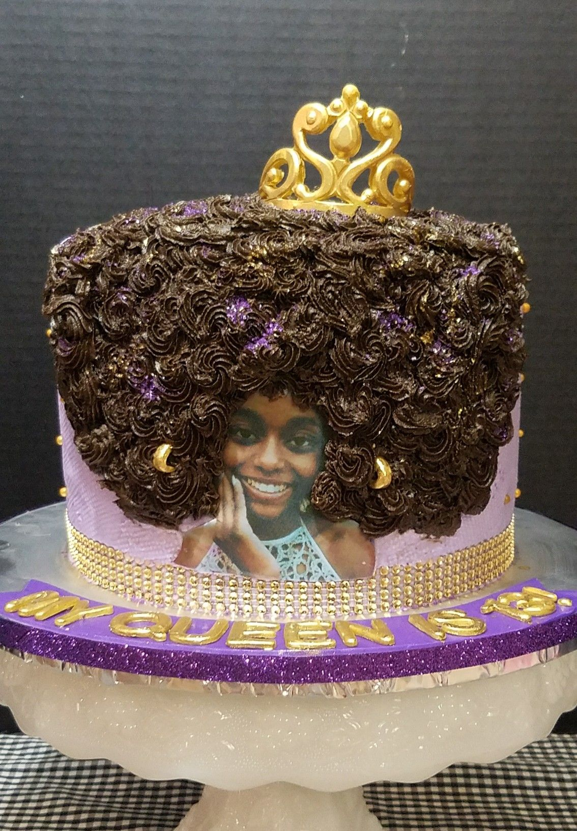 Afro Queen Birthday Cake With Fondant Tiara My Creations