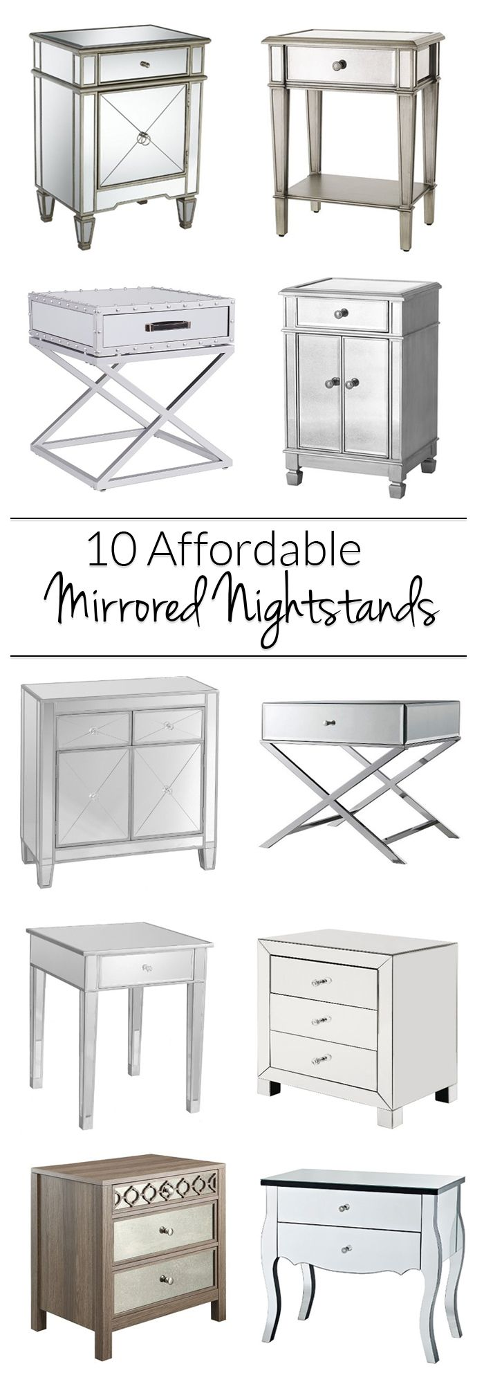 mirrored nightstand. get a mirrored nightstand without breaking the bank! all these glam options for your bedroom