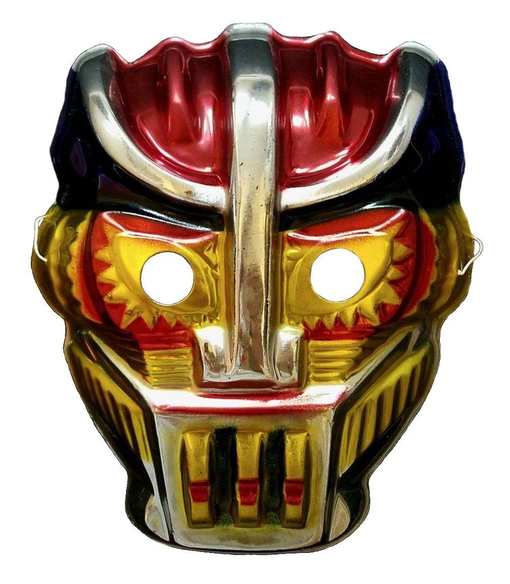 Vintage 1980s Carnival Plastic Metallic Japanese Kikaider Kikaida style Space Man Robot Mask