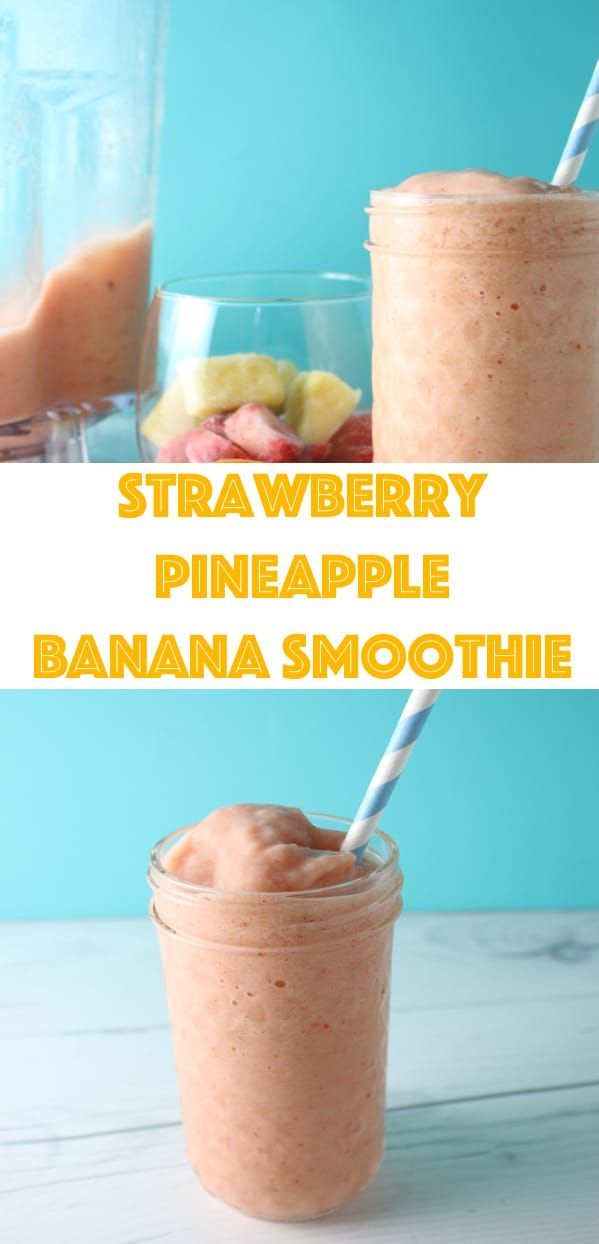This Strawberry Pineapple Banana Smoothie is made with sweet strawberries, yummy pineapple, and creamy banana...can you imagine being in the tropics now? #strawberrybananasmoothie