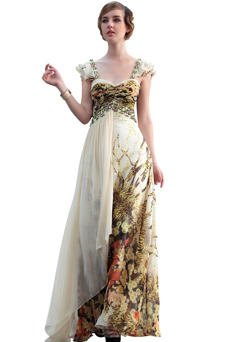 Safari in ivory printed evening dress wedding dress ideas